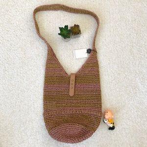 New Gracie Roberts Brown Straw Shoulder Bag